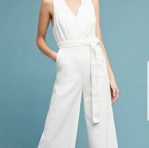 WORN ONCE! Anthropologie white chino jumpsuit